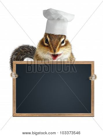 Funny Chipmunk Chef Cook Hold Empty Menu Blackboard
