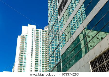 Brickell district in Miami downtown in Florida, USA