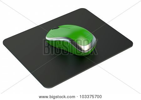 Green Wireless Computer Mouse on mouse mat isolated on white background poster