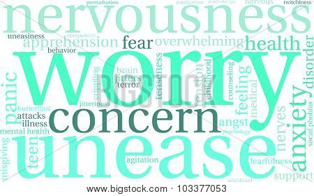 Worry word cloud on a white background. poster