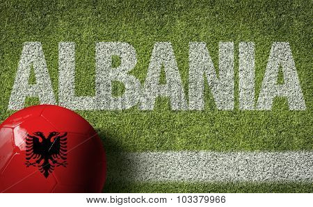 Albania Ball in a Soccer field poster