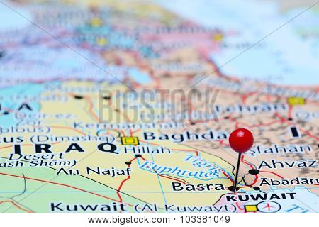 Basra pinned on a map of Asia
