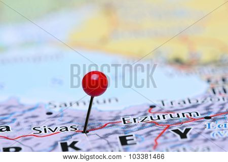 Sivas pinned on a map of Asia