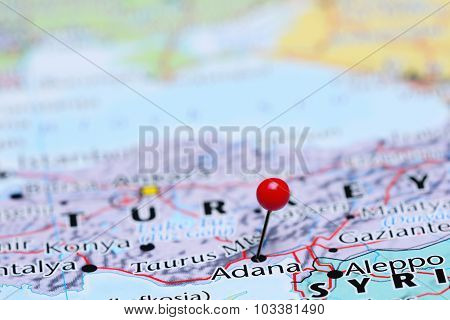 Adana pinned on a map of Asia