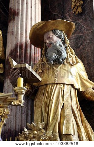 LEPOGLAVA, CROATIA - SEPTEMBER 21: Saint Jerome on the main altar of Holy Cross, parish Church of the Immaculate Conception of the Virgin Mary in Lepoglava, Croatia on September 21, 2014