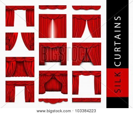 vector set of red silk curtains