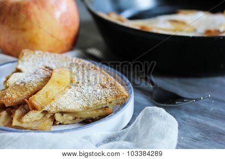 Apple Popover Baked desert in a skillet