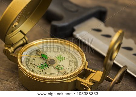 Compass and survival knife