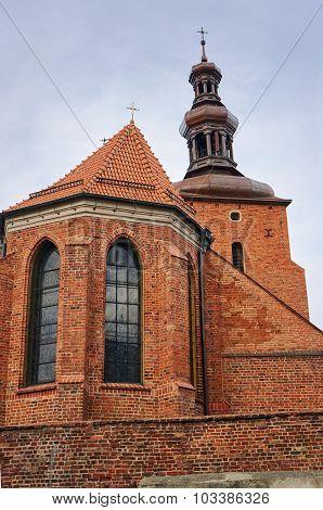 Gothic parish church behind the wall