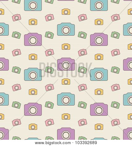 Seamless Hipster Background with Cameras, Vintage Pattern