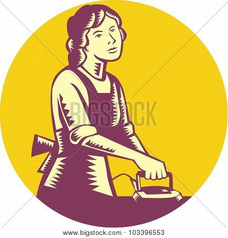 Illustration of a housewife ironing viewed from front set inside circle done in retro woodcut style. poster