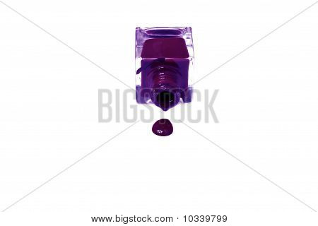 Violet Nail Polish Bottle With Splatters Isolated On White Background