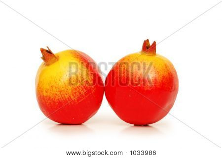 Two Pomegranates Isolated On The White Background