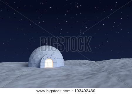 Igloo Icehouse With Warm Light Inside Under Night Sky With Stars Front View