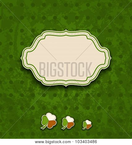 Vintage label with shamrocks in Irish flag colors for St. Patric