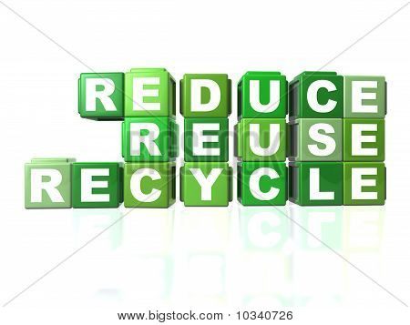 Green Blocks That Spells Out Reduce, Reuse & Recycle