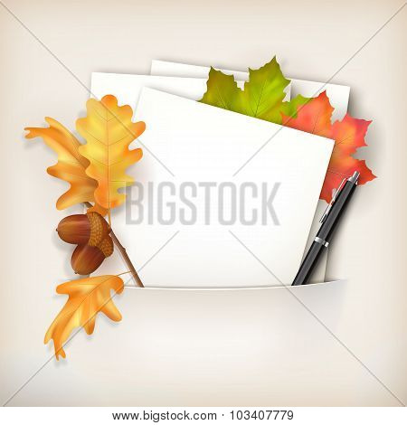 Vector Paper Sheet In Pocket And Fallen Leaves