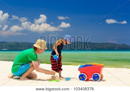 family playing on tropical vacation