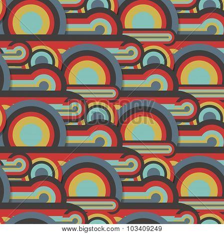 Abstract textile seamless pattern of colorful circles and lines