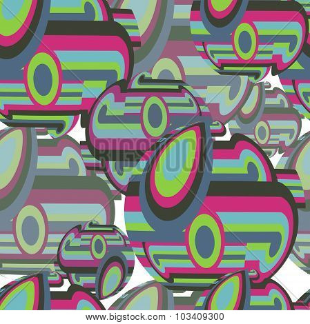 Abstract textile seamless pattern of colorful circles and sphere