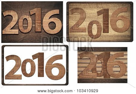 New twenty sixteen year  numbers written on wooden or white background. poster