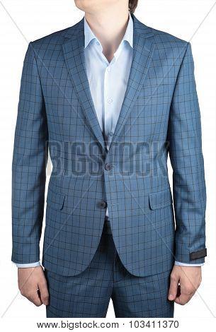 Elegant Fashion Light Blue Plaid Suit Jacket, Men Wedding Clothes.