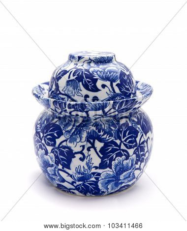 Blue and white ginger jar isolated on white background