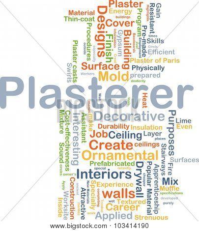 Background concept wordcloud illustration of plasterer