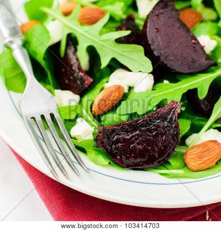 Roast Beetroot Almond Feta and Rocket Salad close up poster
