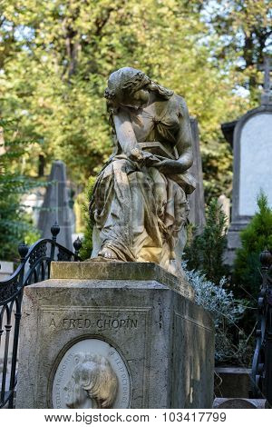 PARIS FRANCE - SEPT 12 2014: Tomb of Frederic Chopin famous Polish composer at Pere Lachaise cemetery in Paris France