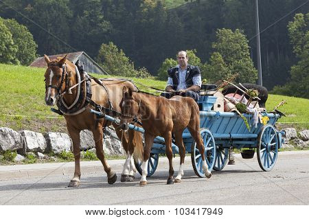CHARMEY SWITZERLAND - SEPTEMBER 26 2015: herdsman on the annual transhumance at Charmey on the Swiss alps.