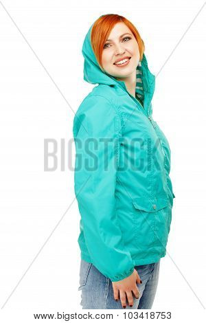Portrait Of A Young Beautiful Girl In A Jacket With A Hood Isolated On White Background. Weather For