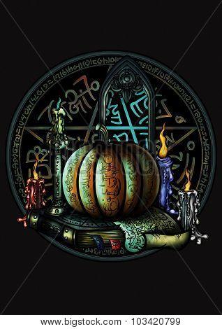 Halloween Magic Emblem With A Pentagram And A Pumpkin