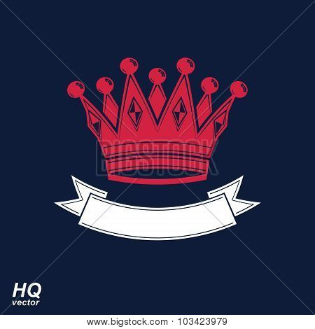 Vector Imperial Crown With Undulate Ribbon. Classic Coronet With Decorative Curvy Band. King Regalia