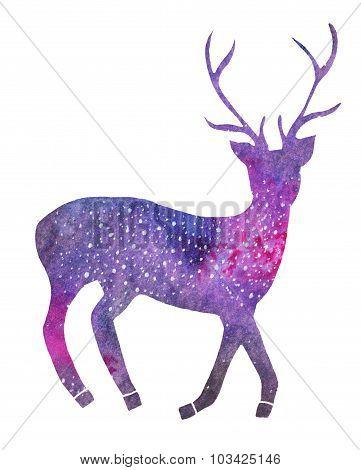 Galaxy deer. Hand-drawn cosmic deer.