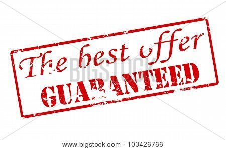 Rubber stamp with text the best offer guaranteed inside vector illustration poster
