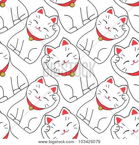 Maneki-neko. Seamless pattern with japanese lucky welcoming cat. Hand-drawn original background. Real watercolor drawing. poster
