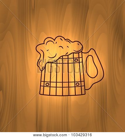 Mug Beer Foam Scorch Wooden Wall