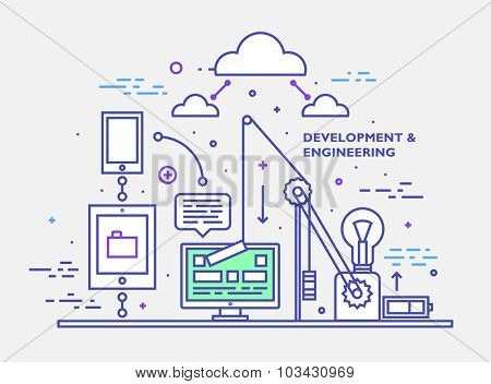 Flat Style, Thin Line Art Design. Set of application development, web site coding, information and mobile technologies vector icons and elements. Web Site Page Developing Elements Collection.