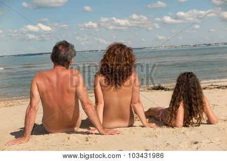 Lovely Naturist Family, Parents And Daughter Have Fun On Holidays