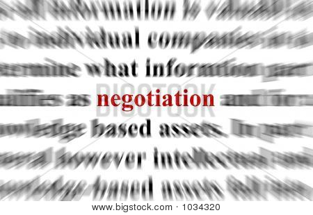 a conceptual image representing a focus on the word negotiation poster