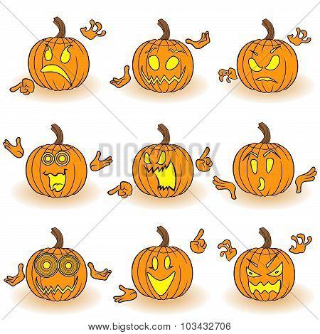Halloween Set Of Nine Gesticulating Pumpkins