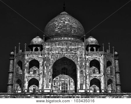 Taj mahal night moonlit