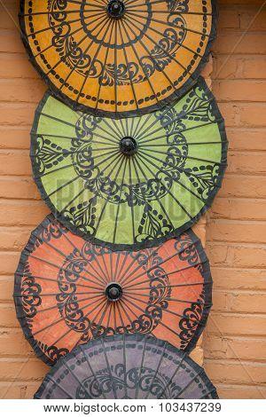 Asia Myanmar Bagan Shop Umbrella