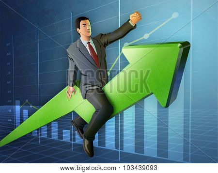 Businessman riding a rising graph arrow. Digital illustration.