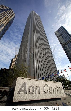 CHICAGO - FRIDAY, SEPTEMBER 25, 2015: The Aon Center. Aon is the leading provider of risk services, reinsurance brokering & human resource consulting.