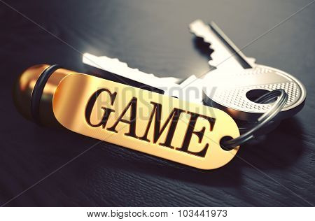 Game - Bunch of Keys with Text on Golden Keychain.
