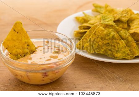 Cheese Dip With Jalapeno Tortilla Chips