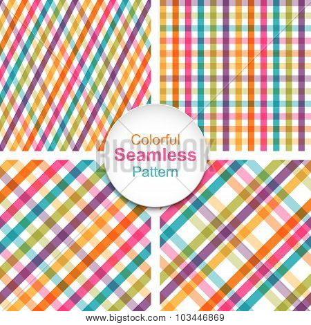 Set of colorful striped seamless patterns