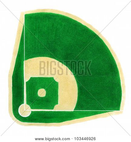 Baseball field. Hand-drawn baseball diamond on the white background.